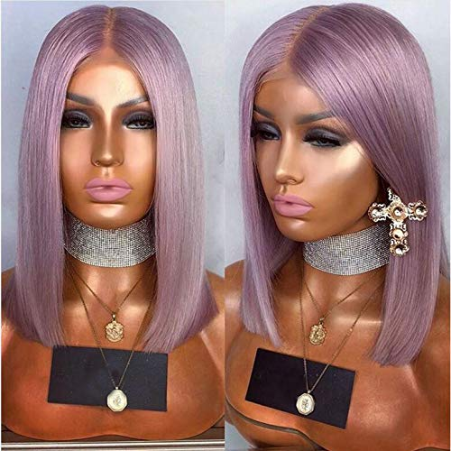 Party Queen Top Quality Light Purple Lace Front Wigs with Baby Hair Affordable Wigs Synthetic Hair Short Bob Wigs with Middle Part Purple Color Straight Hair -
