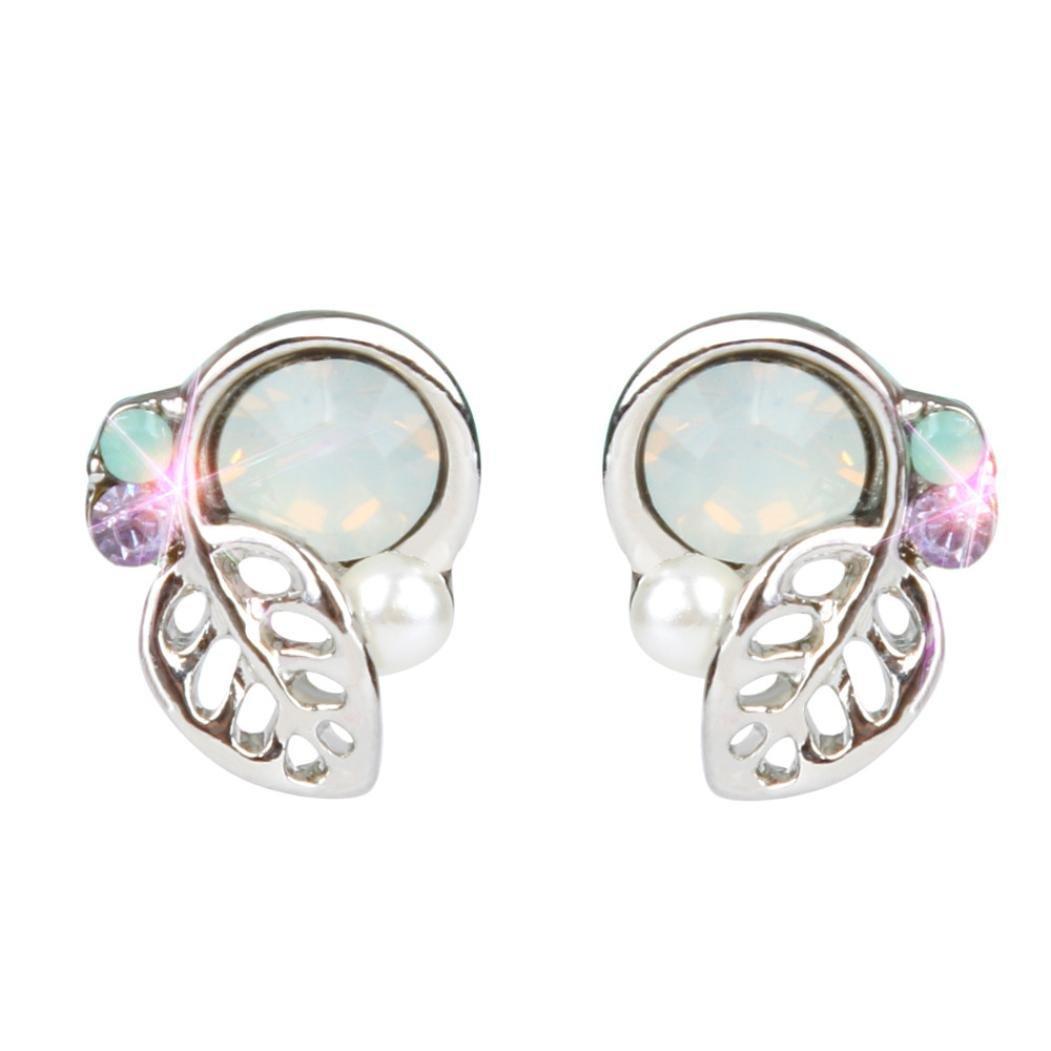 Beuu JJumping Property Prices Simple Leaves Diamond Pearl Earrings New Fashion Crystal Rhinestone Small Lovely Stud Earrings Luxury Stereo Stud Sterling Silver Hoop Earrings (Silver)