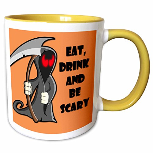 3dRose RinaPiro - Halloween Quotes - Eat, drink and be scary. Halloween funny quotes. Popular saying. - 15oz Two-Tone Yellow Mug (mug_218445_13)]()