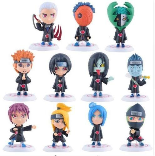 [Shalleen 11Pcs/Set 8cm Naruto Shippuden anime Akatsuki Member figures set pvc doll] (Comic Con Costumes For Females)