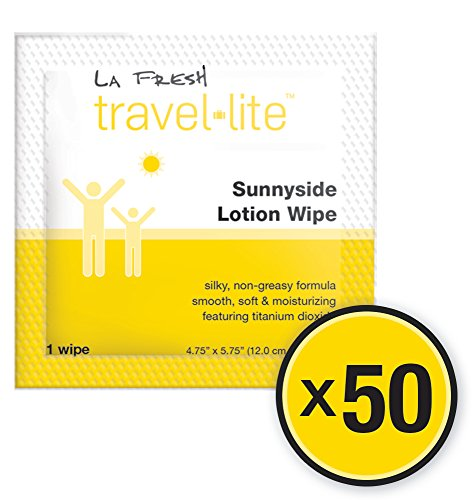 Sun Lotion Travel Face and Body Wipes: La Fresh Skin Moisturizing Body Towelettes - Safe Hydrating Personal Facial Wipe For Men, Women, and Kids - PABA Free and Individually Wrapped - 50 Pack - Delicate Replenishing Leave