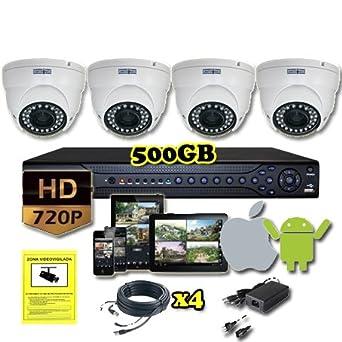 Sistema de seguridad Kit CCTV HD 720P 4 cámaras de vigilancia: Amazon.es: Industria, empresas y ciencia