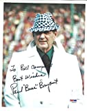 Paul Bear Bryant Signed 8x10 Photograph To Bill Campbell, Best Wishes - Certified Genuine Autograph By PSA/DNA - Autographed Photo