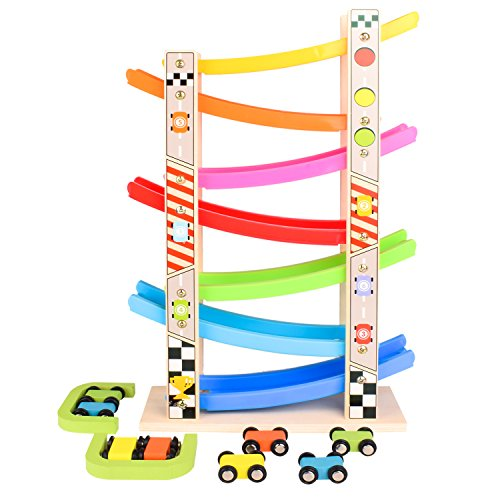 (Bttoyy Wooden Car Ramp Racer, Race Track Toy, Car Playset, 8 Racing Cars For Kids Chlidren For Fun)