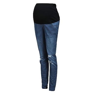 QinMMROPA Pantalones Vaqueros Rotos con Cintura Alta para Mujeres ...