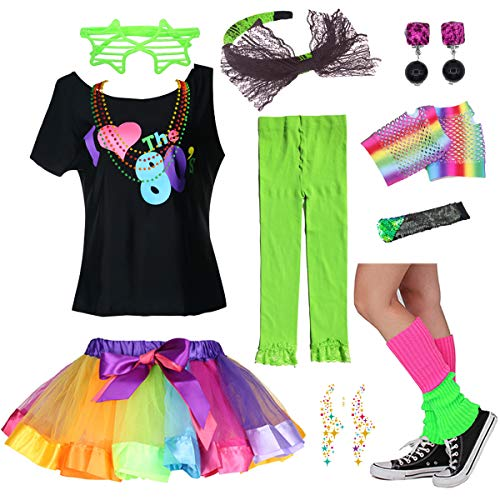 I Love The 80's T-Shirt 1980s Girl Costume Fancy Outfit Accessories Set (8-10 Years, ()