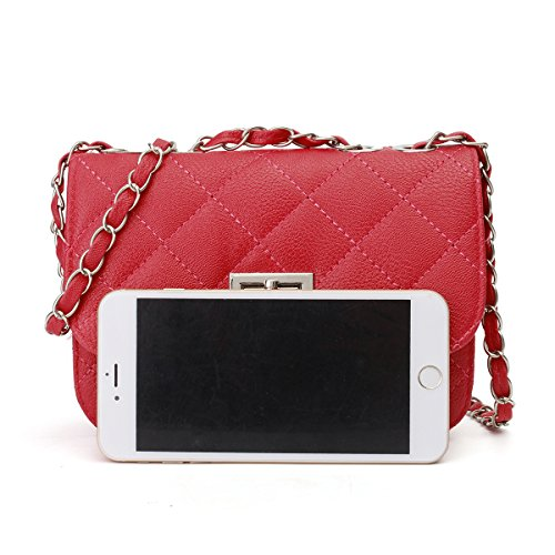 OURBAG Leather Handbag Body Crossbody Purse with Bag Evening Clutch Shoulder Quilted Red Cross Chain Mini PU AEqwIx7SS