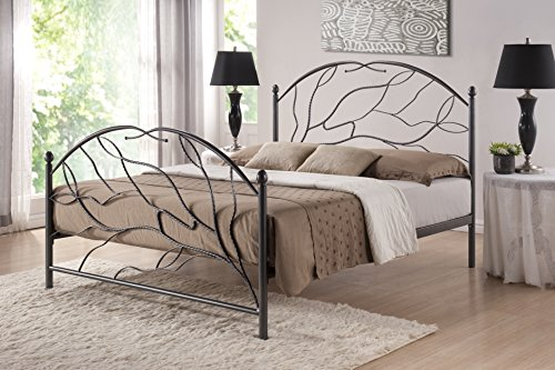 Baxton Studio Zinnia Tree Style Antique Bronze Iron Metal Platform Bed, Queen, Black