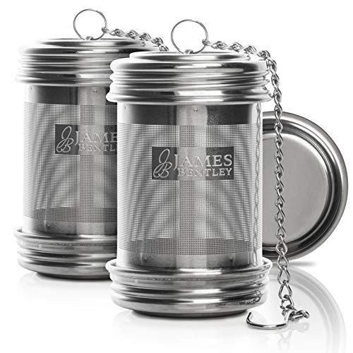 (Tea ball Infuser for loose Tea 2 PACK Stainless Steel filters trainer with Double Screw Threaded Connection for Easy Cleaning Extra Fine Mesh Tea ball Infuser Brew Tea, Spices & Seasonings)