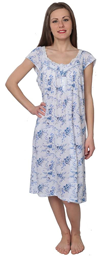 Beverly Rock Women's Floral Print 100% Cotton Short Sleeve Knit Nightgown