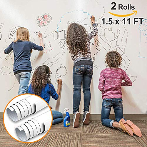 (Dry Erase Contact Paper, Whiteboard Stickers for Wall, 1.5x11ft White Board Roll Peel and Stick, Super Sticky, No Ghost White Board Paper Roll Adhesive,Dry Erase Wallpaper for Office,6 Markers-2 Rolls )