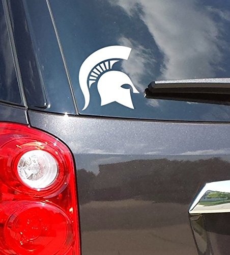 Classic Michigan State University Spartan Helmet Sparty Head Msu Car Decal Sticker  White