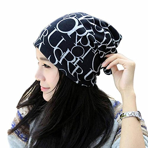 Baggy Skull Cap Soft Stretch Beanie Hat Hip Hop Style Magic Scarf (Black) (Dotted Knit Dress)