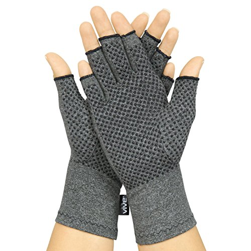 Vive Arthritis Gloves with Grips - Men & Women Textured Fingerless Compression - Open Finger Hand Gloves for Rheumatoid and Osteoarthritis - Arthritic Joint Pain Relief for Computer Typing (Medium) (Poor Circulation In Fingers In Cold Weather)