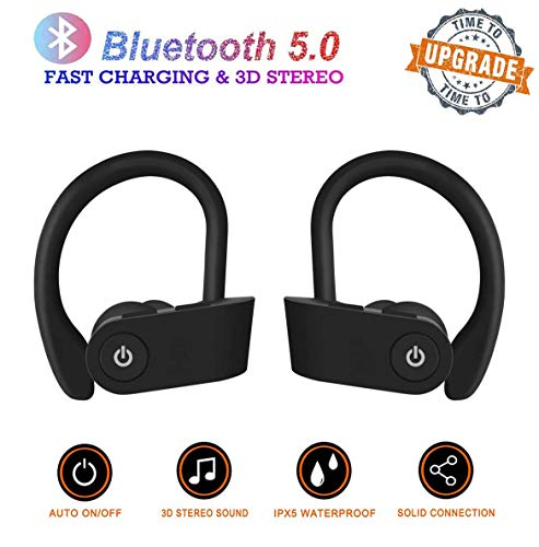 Wireless Headphones Bluetooth, Up to 9 Hrs Playing Time IPX5 Waterproof Running Headphones in-Ear Earbuds with Built-in…