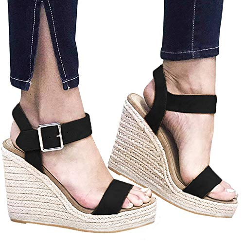 XMWEALTHY Women's Wedge Sandals Casual Sandals Shoes Summer Ankle Buckle Open Toe Wedges Heels Size 5.5 Black