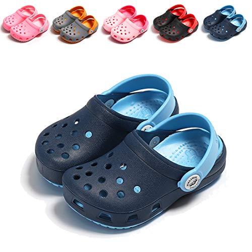 (BEBARFER Toddler Kids' Boys Girls Classic Clog Slip On Garden Water Shoes Lightweight Summer Slippers Beach Sandals(Toddler/Little Kids)(10 M US Toddler,A-Dark Blue))
