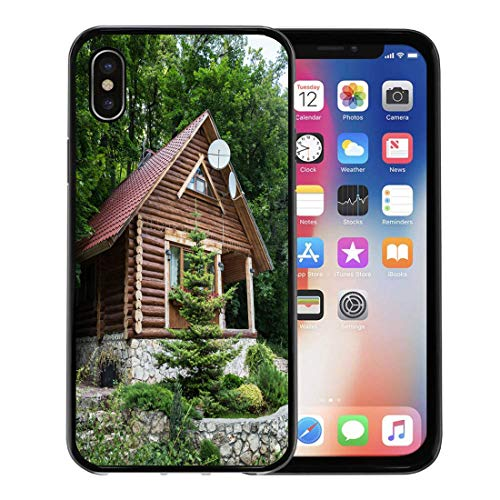 (Emvency Phone Case for Apple iPhone Xs Case/iPhone X Case,Brown Cabin Chalet from Logs in The Forest Green Soft Rubber Border Decorative, Black)