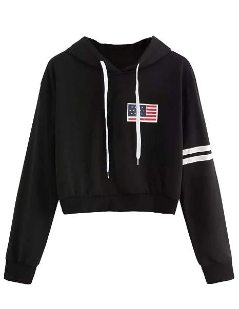 ... Otoño Bandera Estadounidense Manga Larga Primavera Jersey Blusa Pullover Encapuchado Tops Hoodie Raya Chaquetas Deportivas: Amazon.es: Ropa y accesorios
