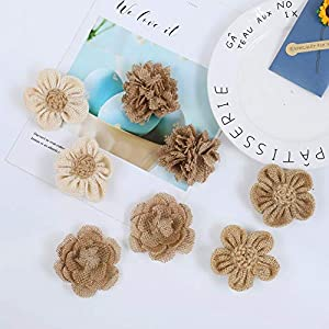 APICCRED 24PCS Burlap Flowers for Crafts 12Styles Natural Handmade Rustic Rose Flower for Burlap Decoration DIY Craft Bouquets Home Wedding Christmas Party Decoration 5