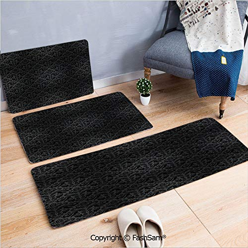 FashSam 3 Piece Flannel Bath Carpet Non Slip Black Damask Arabesque and Floral Elements Oriental Antique Ornament Vintage Front Door Mats Rugs for Home(W15.7xL23.6 by W19.6xL31.5 by W17.7xL53) ()