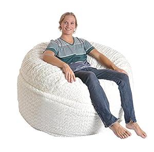 SLACKER Sack 5 Feet Luxurious Fur Beanbag Chair, Large, White