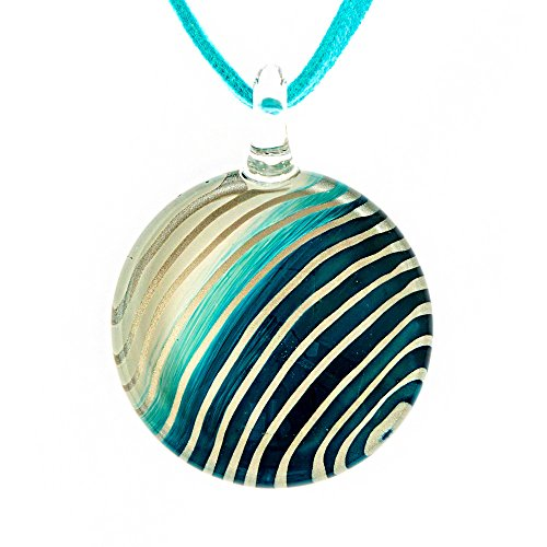 Handmade Striped Glass Necklace - Chuvora Hand Blown Venetian Murano Glass White Blue Striped Round Pendant Women Necklace, 18-20''