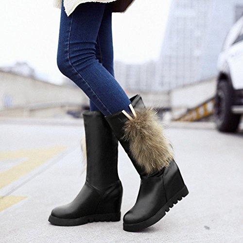 Carolbar Womens Fashion Faux Fur In Metallo V-shaped Caldo Inverno Stivali Con Zeppa Tacco Stivali Neri (pu)