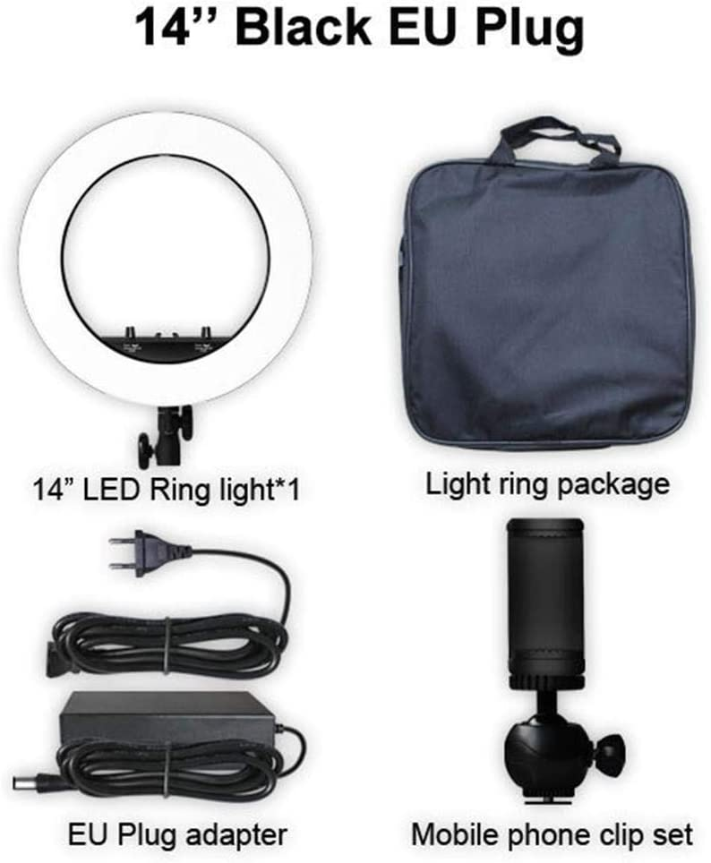 Dappre Portable LED Ring Light Photography Bracket Live Fill Light 5500K Dimmable LED Ring Lamp Stand 14 Inch