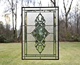 Tiffany Style Stained Glass Green & Clear Beveled Window Panel 19'' X 27''