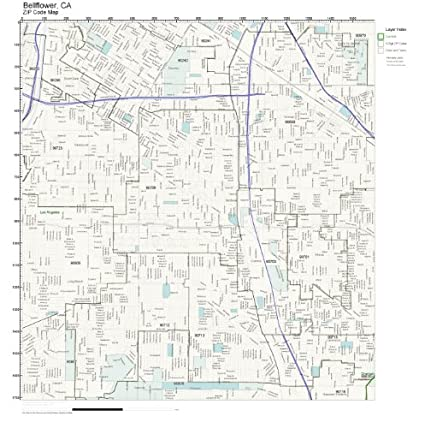Amazon Com Zip Code Wall Map Of Bellflower Ca Zip Code Map Not