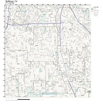 Amazon Com Zip Code Wall Map Of Bellflower Ca Zip Code Map