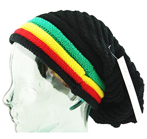 Three Stripe Beanie (Itzu Oversized Slouch Rasta Stripes Ribbed Warm Beanie Hat Black Green Yellow Red (3)