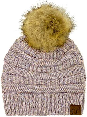 Adult Small  Teen Chunky Brown Ribbed Beanie with Pom