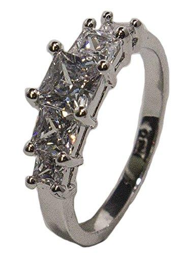 - RS Covenant Women's Rhodium Plated Dress Ring Princess Cut CZ Band 019 (10)