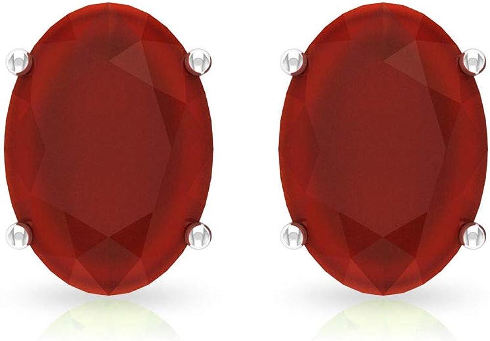 2.2 Ct Oval Shape Red Onyx Stud Earring, Wedding Bridal Statement Earring, SGL Certified Gemstone Vintage Earring, Solitaire Birthstone Women Earring, Screw Back
