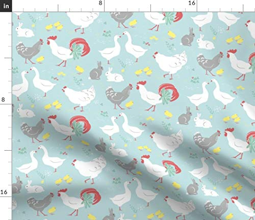 Spoonflower Farm Animals Fabric - Chickens Nature Botanical Bunnies Nursery Easter Print on Fabric by The Yard - Petal Signature Cotton for Sewing Quilting Apparel Crafts Decor