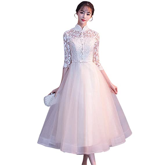 62aa76d40a6 Drasawee Women s Lace Button Middle Sleeve Evening Wedding Dress Stand  Collar Party Formal Dresses S