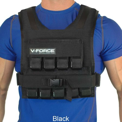 V-Force 45 Lb Weight Vest. Adjustable Solid Iron Weights. Made in USA.