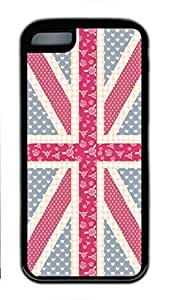 Soft Case Shell for iPhone 5C Covered with Dots Heart and Flower United Kingdom Flag,Customized Black TPU Cover Skin for iPhone 5C by icecream design