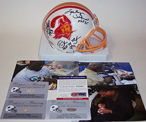 Lee Roy Selmon, Warren Sapp & Derrick Brooks Autographed Hand Signed Bucs Mini Helmet - PSA/DNA (Brooks Autographed Helmet)