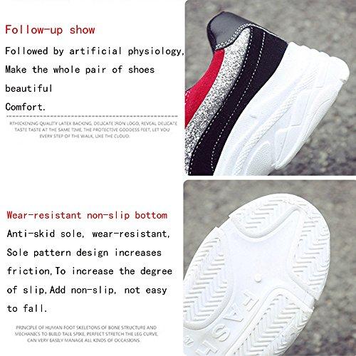 cordones blanco de y Zapatos de de al de cuero GAOLIXIA aire deportivos running zapatilla de tacón con para Black mujer deportivo Zapatos casual con cordones primavera Negro Zapatos deporte libre de fY7wq