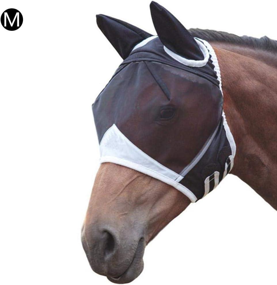 jinclonder Horse Mask Fly, máscara Anti-Mosquito de Verano con Orejas, Suave y Transpirable, Protege la Cara y los Ojos de los Caballos de los Insectos mordedores Protección Solar Pero Buena visión