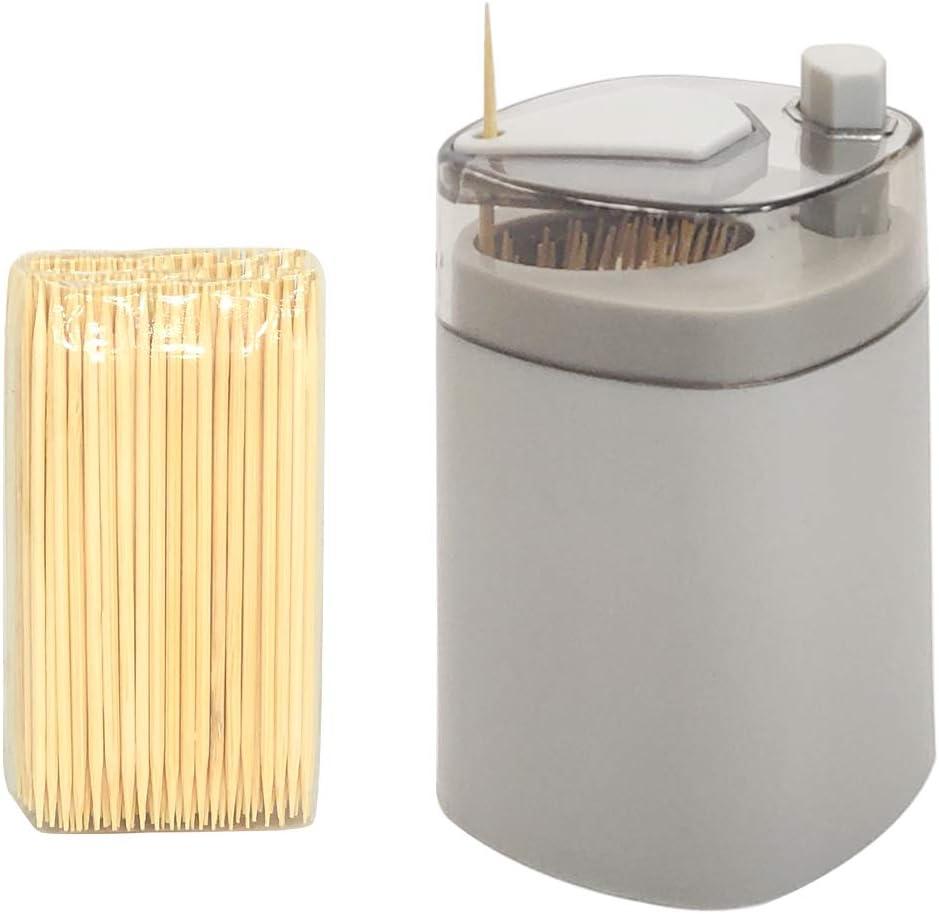 Toothpicks Holder Dispenser, Pop-Up Automatic Tooth Pick Holder Dispenser, Toothpick Storage Box- Grey