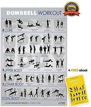 Alpine Fitness mancuernas ejercicio & Fitness cartel laminado planificador de gimnasio para un entrenamiento de gran