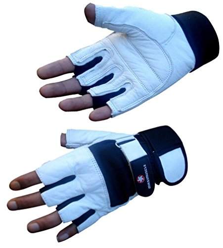 4Fit Maximuscle Heavy Duty Weight Lifting Gloves Gym Training Leather PADDED Palm (Medium)