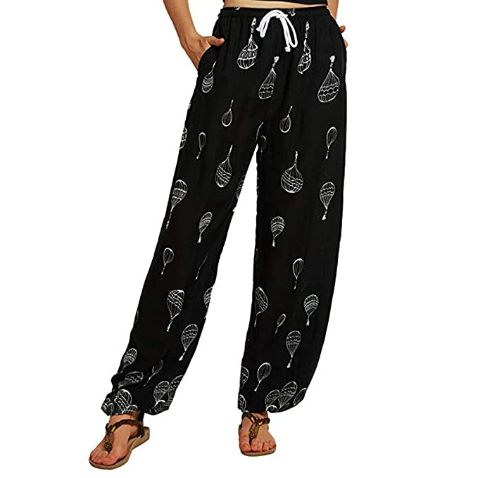 Modaworld Pantalones de yoga boho de cintura baja con ...