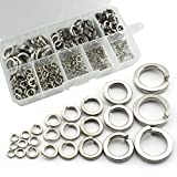 RuiLing 420pcs 304 Stainless Steel Flat Spring Lock Washers Split Lock Screw Gasket Assortment Kit Lock Tools Fastener Hardware with Box M2 M2.5 M3 M4 M5 M6 M8 M10