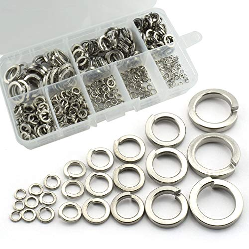 RuiLing 420pcs 304 Stainless Steel Flat Spring Lock Washers Split Lock Screw Gasket Assortment Kit Lock Tools Fastener Hardware with Box M2 M2.5 M3 M4 M5 M6 M8 M10 by RuiLing