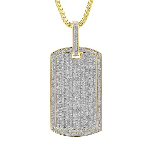 2.75ct Diamond Dog Tag Charm Mens Hip Hop Pendant in Yellow Gold Over 925 Silver (I-J, I2-I3) by Isha Luxe-Hip Hop Bling